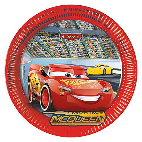 Procos 87807 - Teller Cars, 8 Stück, Durchmesser 23 cm, Einwegteller, Kindergeburtstag, Partygeschirr