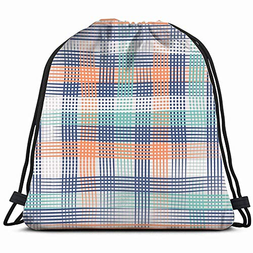 DIMAA Tweed Plaid Bold Abstract 1950S Drawstring Backpack Gym Sack Lightweight Bag Water Resistant Gym Backpack for Women&Men for Sports,Travelling,Hiking,Camping,Shopping Yoga