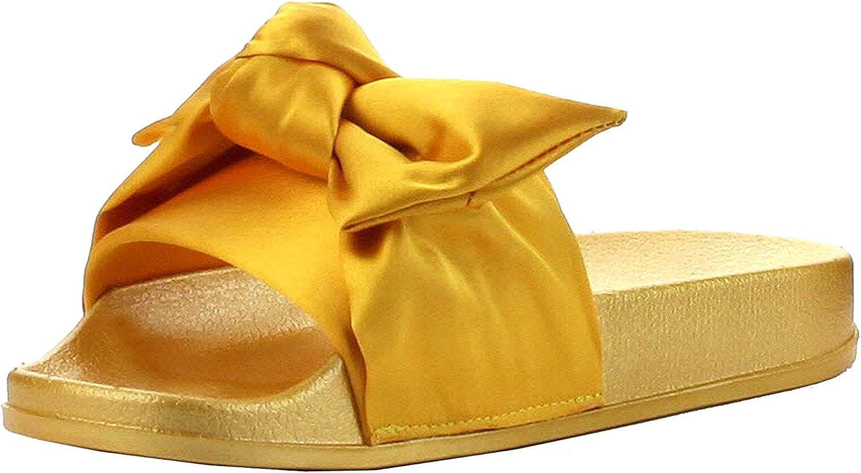 Cape Robbin Moira-19 Women's Fashion Bow Decor Slip On Slide Sandal