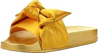 Cape Robbin Womens Moira-19 Fashion Bow Slide Sandals Gold 5 B(M) US