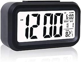 Wazdorf Digital Smart Alarm Clock with Automatic Sensor,Date & Temperature, Alarm Clock for Heavy Sleepers, Alarm Clock for Students, Alarm Clock for Home, Alarm Clock for Bedroom (Black)