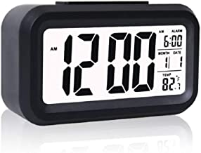 Unity Brand™ Digital Smart Backlight Battery Operated Alarm Table Clock with Automatic Sensor Date & Temperature (Black)