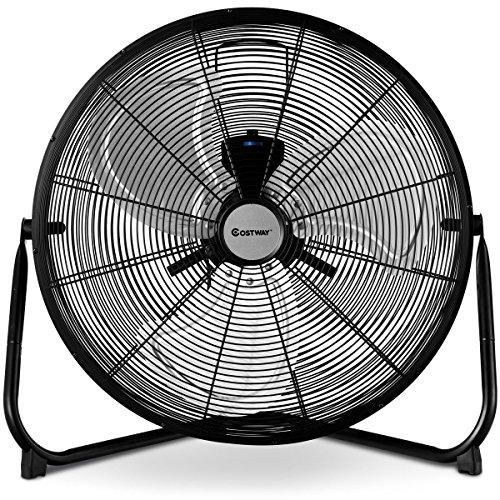 COSTWAY Floor Fan, 20-Inch w/360° Rotation, 3-Speed Adjustable, Commercial Industrial Grade, Metal,...