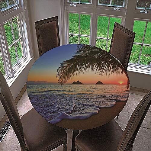 Chickwin Mantel Redondo Impermeable Antimanchas con Estampado Playa de Verano 3D, Mantel de Mesa con Diseño de Borde Elástico para Comedor, Fiestas, Cocina y Picnic (F,90cm)