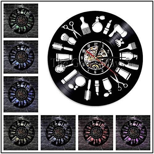 MLLL Peluquería Herramientas De Peluquería Peine Tijeras Arte De La Pared Luz Colgante Peluquería Belleza Peluquería Reloj De Pared De Vinilo 12 Pulgadas con Luz Led
