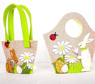 Haodene Pack De 2 Sac À Main Panier De Paques Oeufs Floral Lapin De Pâques  Shopping
