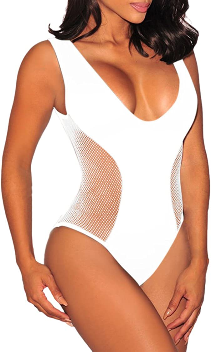 Pink Queen Women's Mesh High material Spice V-Neck Free Shipping New One-Piece High S Padded Cut
