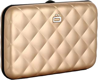 Ogon Quilted Button Card Case Wallet Rose Gold