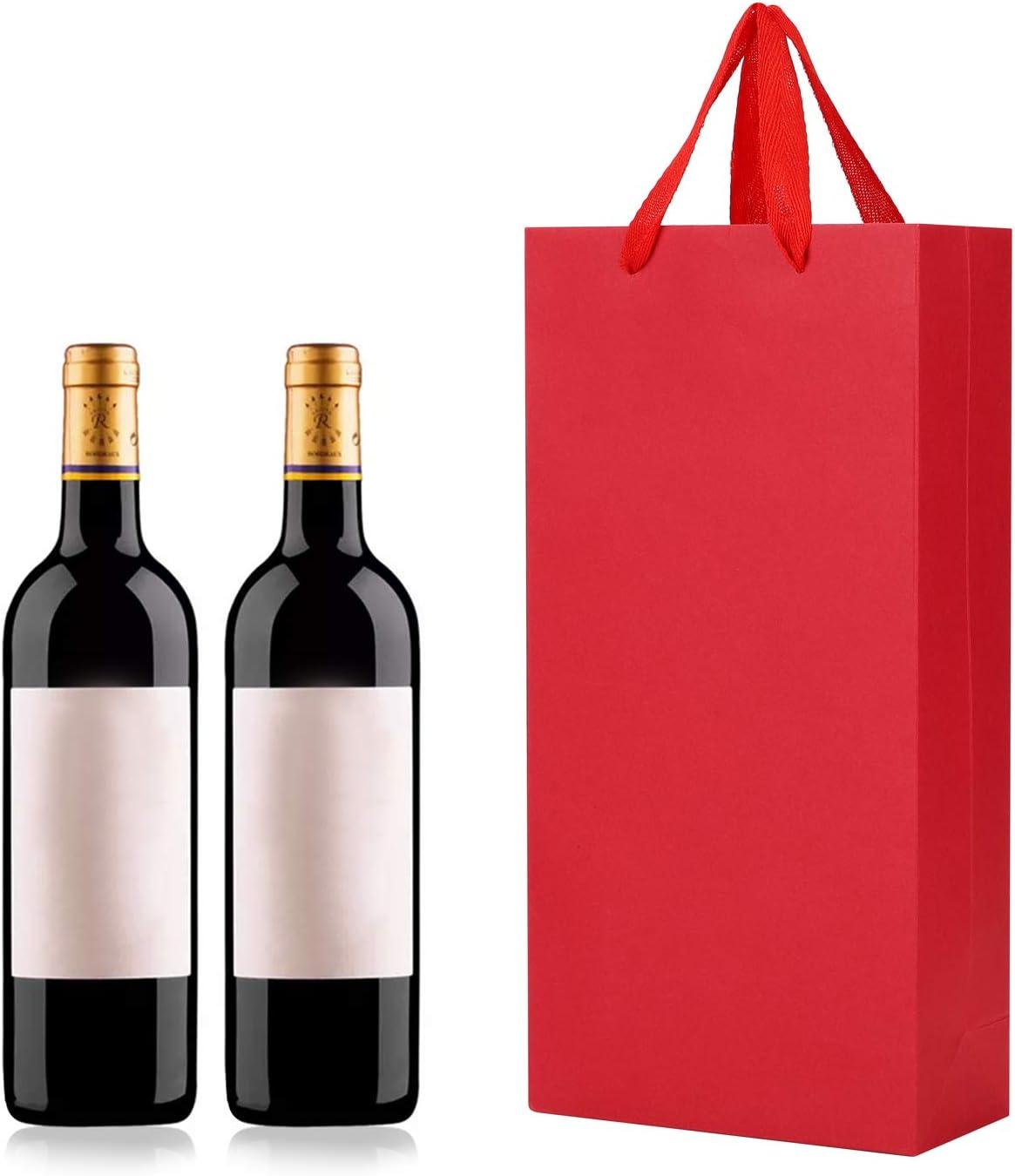 riutilizzabili laminati per una maggiore resistenza. con manici in corda per feste di compleanno matrimoni shopping grandi bottiglie di whisky 10 sacchetti regalo per bottiglie di vino