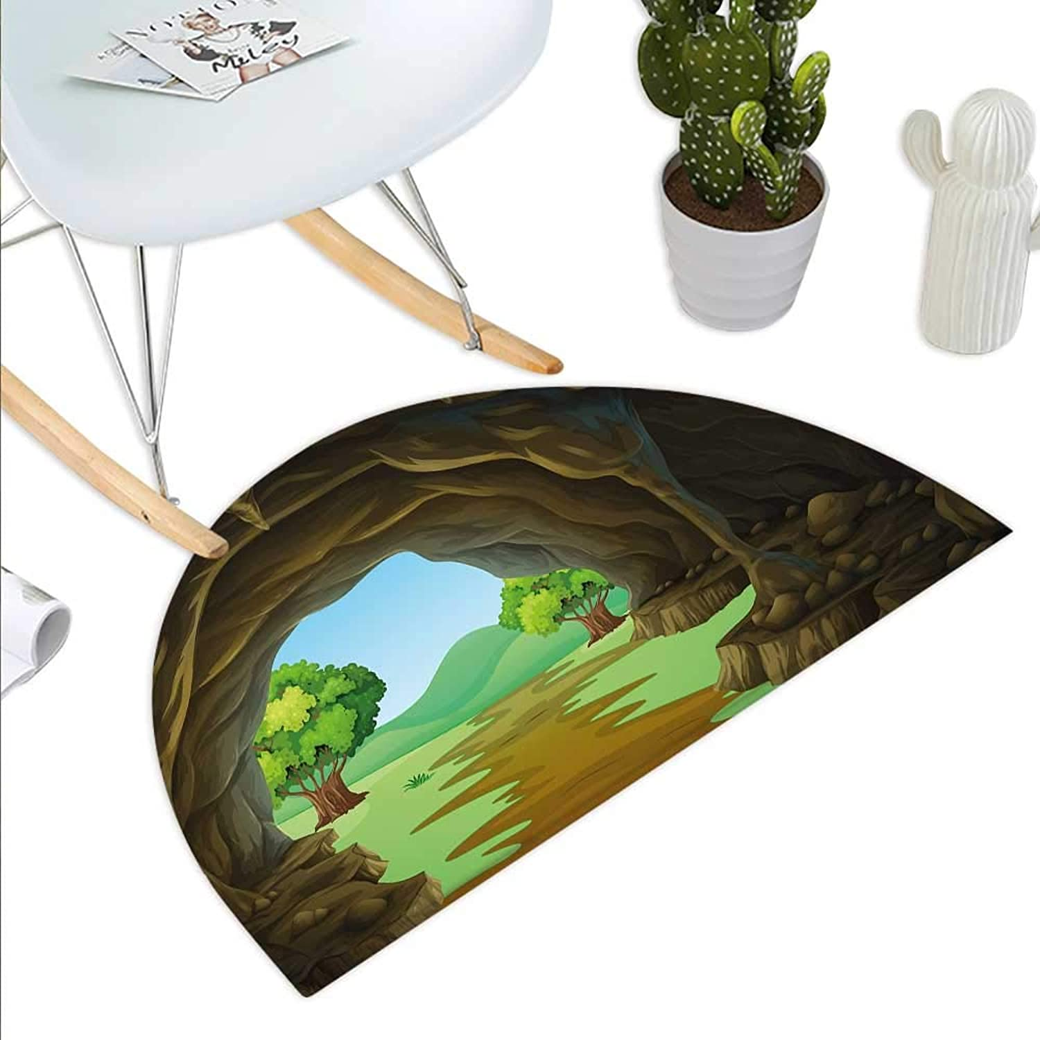 Cave Semicircle Doormat Rock Shelter in Countryside with Distant Hills Green Trees and Lawn Halfmoon doormats H 43.3  xD 64.9  Pale Brown Green Pale bluee