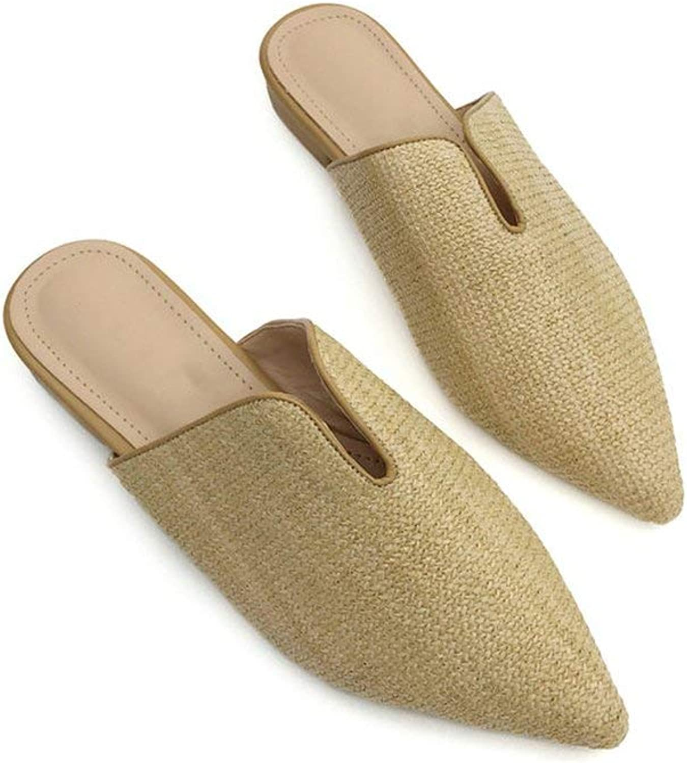HuaHua-Store Spring Summer Cane Weave Mules shoes Women Slippers Pointed Toe shoes Woman Slip