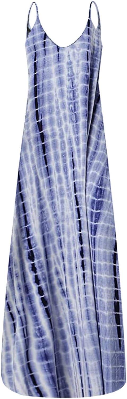 Tavorpt Maxi Dresses for Women Casual,Women's Summer Sleeveless Fashion V Neck Pocket Long Dress Beach Sundress