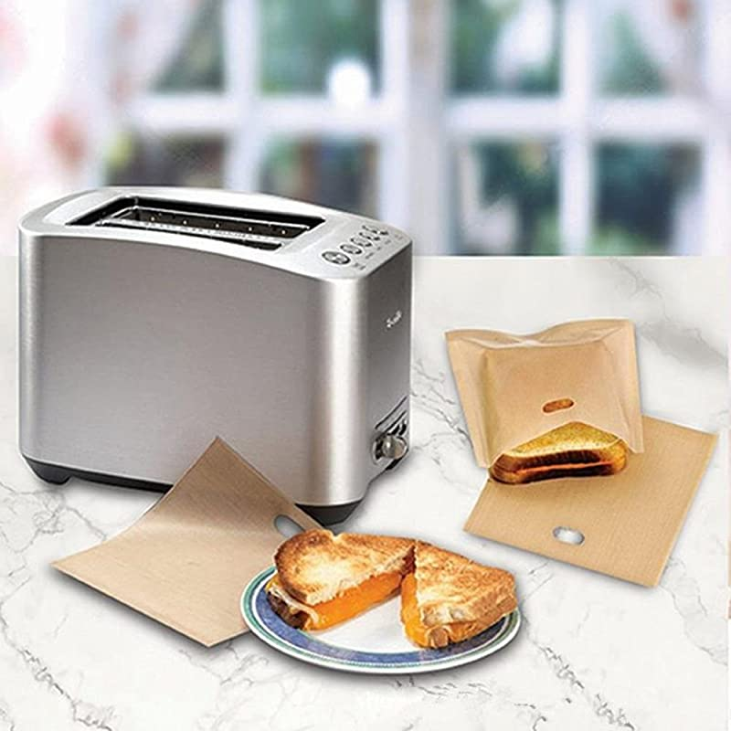 Purra145 Sandwich Toaster Bag For Grilled Cheese Sandwiches Made Easy Reusable Non Stick Baked Toast Bread Bags Baking Accessories