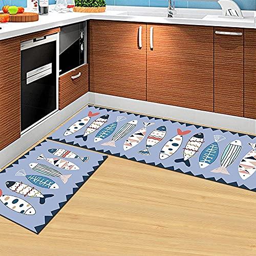 Set di tappeti da cucina con motivo a pesci carini 2 pezzi Tappetini e tappetini da cucina antiscivolo in microfibra Supporto in gomma Tappetino assorbente e lavabile durevole Zerbino lavabile in lav