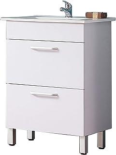 Meuble de Salle de Bain Blanc, Meuble Lave-Mains sur Pieds Blanc avec lavabo céramique, Meuble de Rangement avec 2 tiroirs...