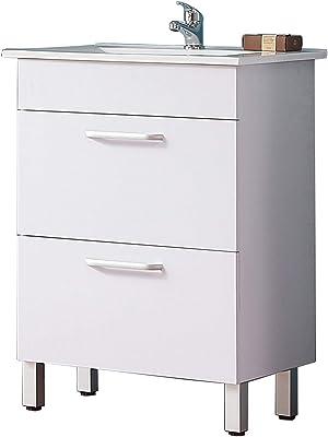 Meuble de Salle de Bain Blanc, Meuble Lave-Mains sur Pieds Blanc avec lavabo céramique, Meuble de Rangement avec 2 tiroirs 60cm