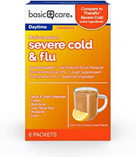Basic Care Severe Cold & Flu Relief, Green Tea & Honey Lemon Flavors; Relieves Cough, Sore Throat Pain, Body Ache, Headache and Fever, 6 Count