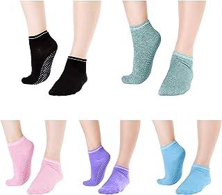 Grippy Anti Slip Barre Sticky Socks 5 Pack Elutong Yoga Pilates Gripper Slipper Sox