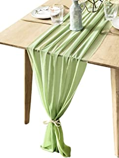 BOXAN 10Ft Sage Green Elegant Sheer Table Runner Decorative Rustic Wrinkle Resistant for Spring Summer Romantic French Chic Wedding Party, Bridal Shower Baby Shower Table Decoration 30x120 Inch