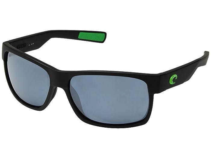 Costa  Half Moon (Matte Black/Green Logo Frame/Gray/Silver 580P) Athletic Performance Sport Sunglasses
