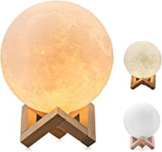 BRIGHTWORLD Moon Lamp 3D Printing Lunar Lamp Night Light as Kids Women Girls Gift USB Charging and Touch Control Brightnes...