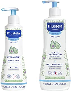 Mustela Baby Bath Time Gift Set - Baby Skin Care Essentials with Natural Avocado - Contains Hydra Bebe Body Lotion 10.14 f...