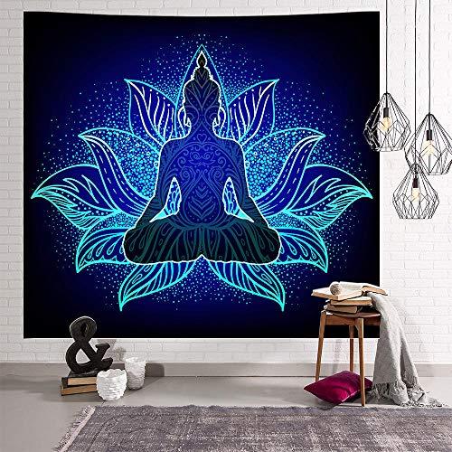 FDONTR Tapiz Tapiz Mandala Tapiz Zen Buda Tapiz Tapiz Azul Lotus para Sala de Estar Dormitorio Dormitorio Decoración de la Pared