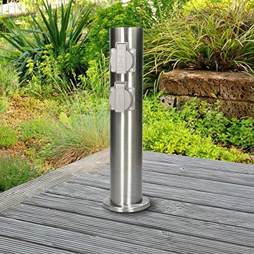 ECD Germany Steckdosensäule 4-fach Steckdosen - aus Edelstahl - spritzwassergeschützt IP44 - Außenbereich - Außensteckdose Gartensteckdose Energiesäule Mehrfachsteckdose Stromversorgung Stromverteiler