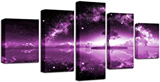 Sdefw Modular Canvas Painting Home Decor 5 Pieces Lonely Tree Under The Starry Sky Pictures Hd Print Purple Lake Poster Wa...