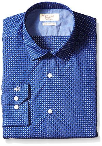 Original Penguin Men's Slim Fit Spread Collar Fashion Dress Shirt, Animal Print, 16.5 36/37