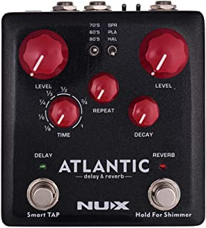 Muslady NUX ATLANTIC Delay & Reverb Guitar Effect Pedal Dual Footswitch 3 Delay Effects 3 Reverb Effects Supports Tap Tempo Shimmer Function True Bypass with Mono & Stereo Outputs