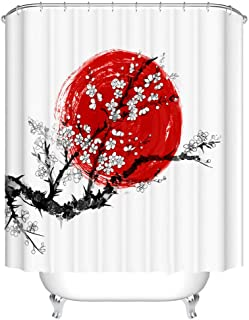 Fangkun Cherry Tree Art Decorative Shower Curtain Set with 12pcs Hooks - Sakura in Blossom and Red Sun Symbol of Japan - Polyester Fabri Bath Curtains - Black and White (72 x 72 inches, YL217#)