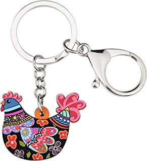 Bonsny Acrylic Floral Hen Chicken Keychains Key Ring Car Purse Bags Pets Lover Charms Animal Gifts