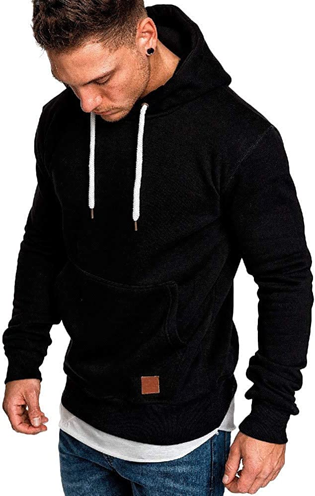 Misaky Hoodies for Men Autumn & Winter Casual Solid Loose Pocket Long Sleeve Pullover Hooded Sweatshirt Tops