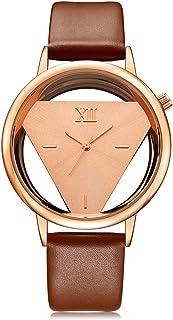 GEEKTHINK Classic Elegant Hollow Quartz Lady Watch Women Luxury Brand Gold Ladies Casual Dress Leather Strap Clock Female ...