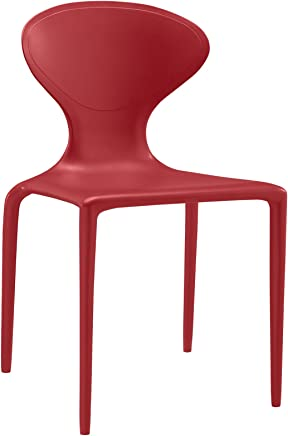 Modway Draw Dining Side Chair in Red