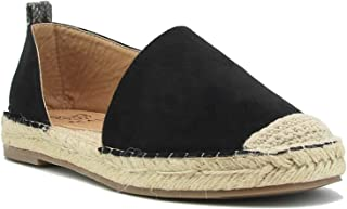 Beast Fashion Nova-01 Suede Capped Toe Slip On Side Cutout Espadrille Flats