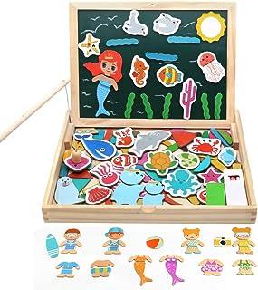 Puzzle de Madera 4 EN 1 Juguetes de Madera Juguetes de Pescar Educativos Caja Puzle Pizarra Blanca Magnética Niños Regalos...
