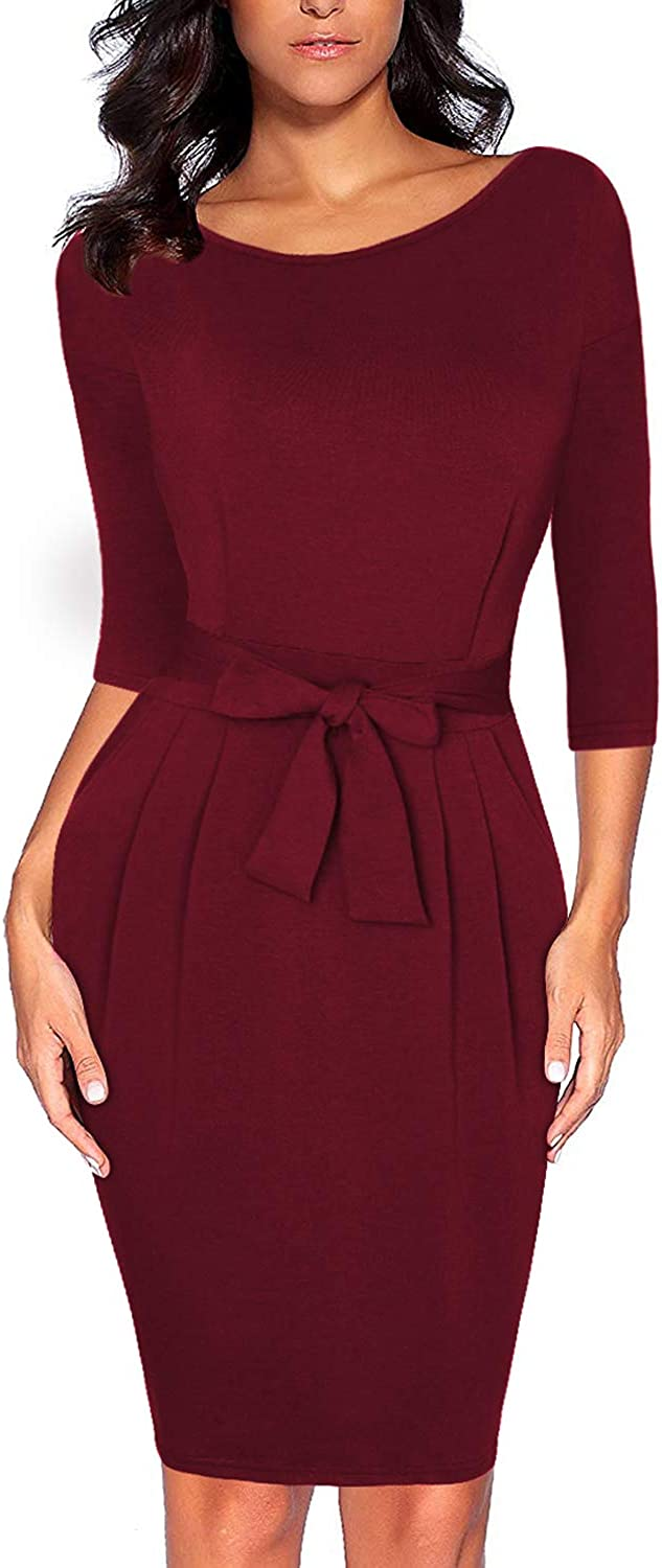 CHUNNA Women's Elegant 2 3 Sleeve Wear to Work Casual Pencil Dress with Belt