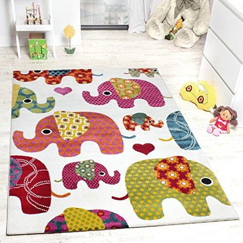 Moderner Kinderzimmer Teppich Bunte Elefanten Multicolour Creme Grau Fuchsia , Grösse:120x170 cm