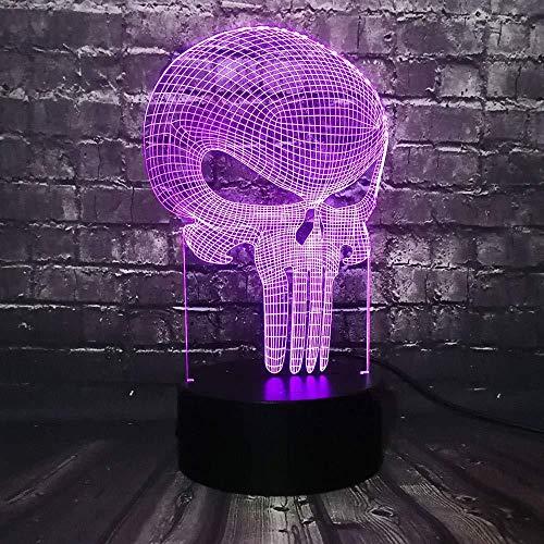 Jonge kerstcadeaulamp 3D nachtlampje tand schedel lamp 3D USB Halloween stemming kleurrijk thema griezelige decoratie huis heks nachtlampje podiumverlichting met USB-afstandsbediening