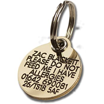 REINFORCED deeply engraved solid brass 27mm circular dog tag