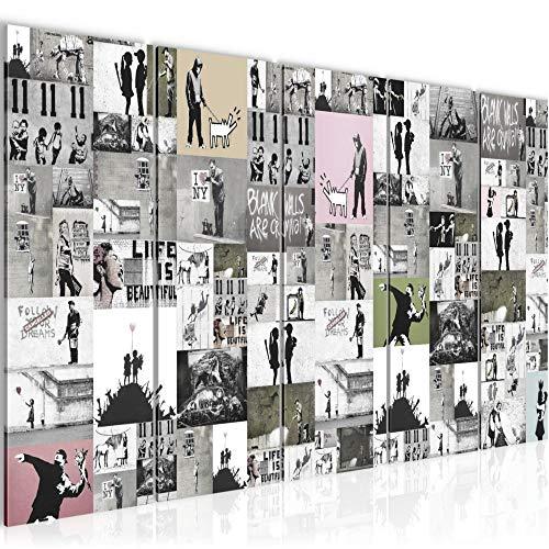 Bilder Collage Banksy Wandbild 200 x 80 cm 5 Teilig Vlies - Leinwand Bild XXL Format Wandbilder Wohnzimmer Wohnung Deko Kunstdrucke Rosa Grau - MADE IN GERMANY - Fertig zum Aufhängen 302755b