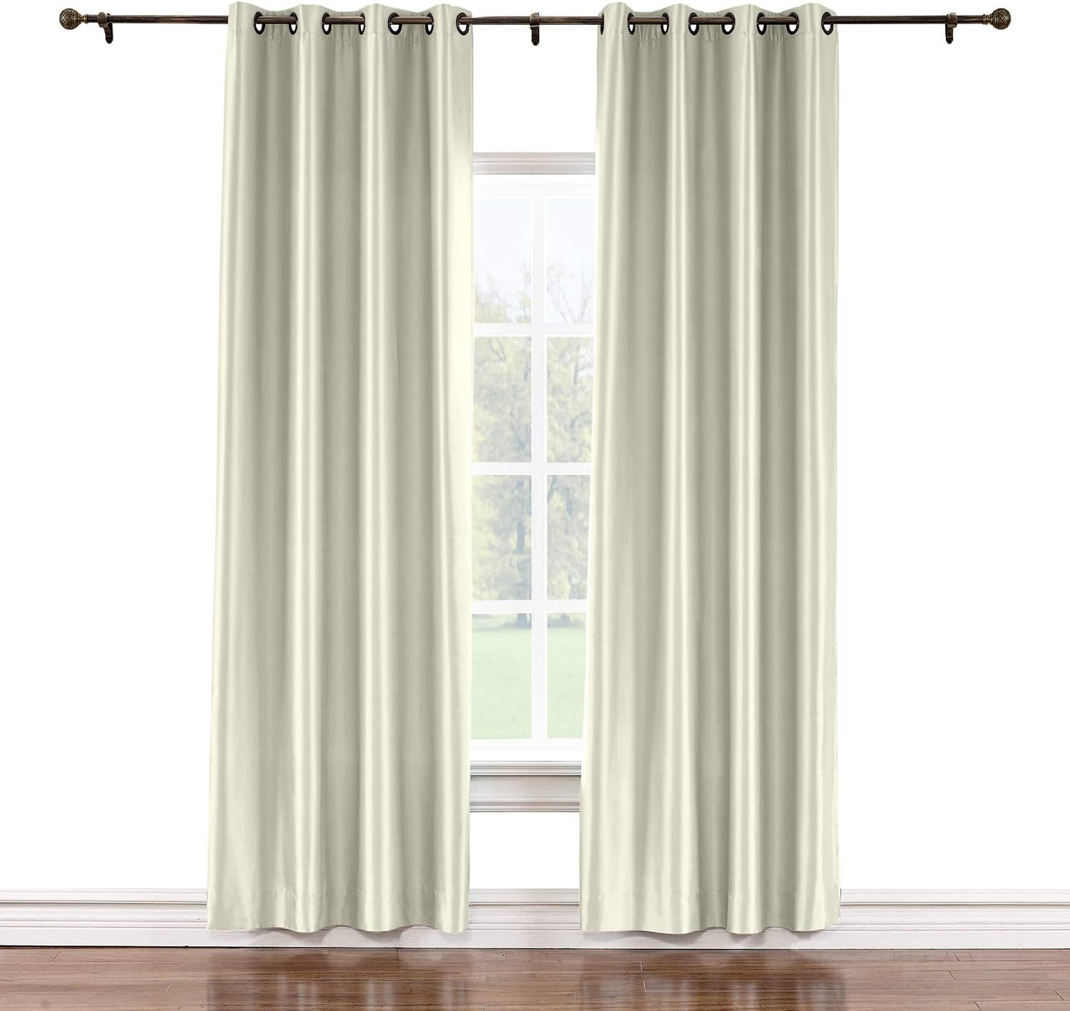 TWOPAGES 72 W x 84 L Super beauty product restock quality Phoenix Mall top Grommet Li Silk Faux Blackout with Curtains