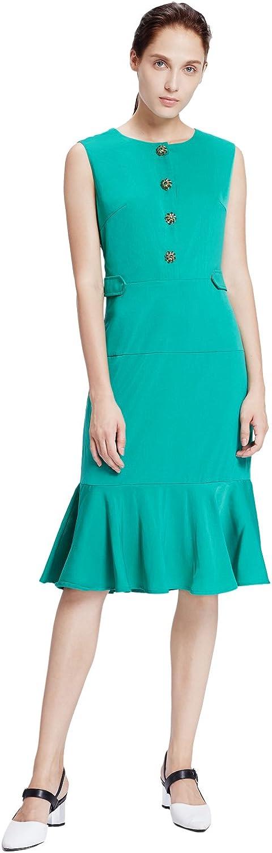 My Bun 2017 Summer Slim Fit Women Sleeveless Green Ruffle Dresses