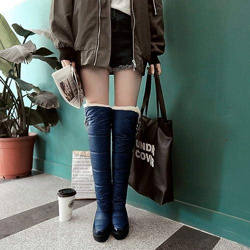 ZHRUI Bottes pour Les Les dames - Bottes d'hiver antidérapantes Chaussures en Coton Chaudes Hauts en Duvet imperméables Bottes de Neige pour Femmes -35-42 (Couleuré   Bleu, Taille   36)