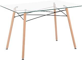 IPOTIUS Table Rectangulaire Salle à Manger en Verre Scandinave 4 à 6 Personnes Table de Cuisine Moderne avec Pieds en Bois...