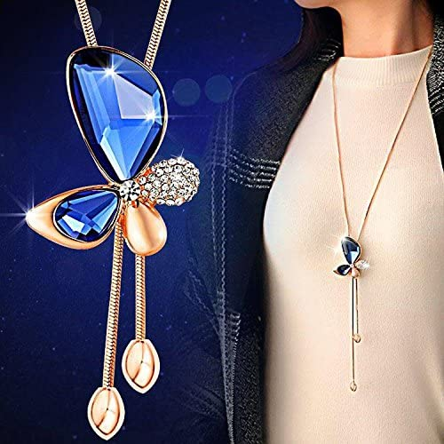 YIXING Classic Crystal Butterfly Tassel Long Necklace Women Jewelry Necklaces Pendants Gift (Metal Color : Blue)