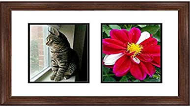"Frames by Mail Double Square Opening Collage Frame for 8"" x 10"" Photo, Walnut"
