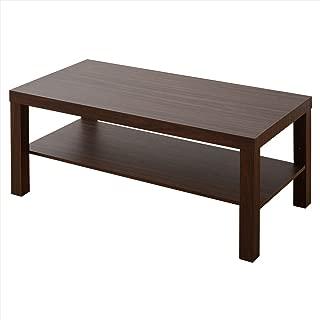 山善 ローテーブル 幅90×奥行45×高さ40cm コンパクト 頑丈 収納棚付き 床に傷がつきにくい 組立品 ウォルナットブラウン TCT-9045(WBR)